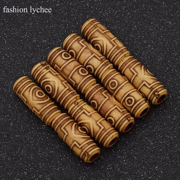 fashion lychee 10pcs Wooden Hair Dreadlock Beads Beautiful Braiding Hair Wooden Color Dread Hair Beads Hair Jewelry 6mm Hole