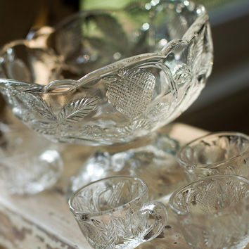 Cambridge Glass Punch Bowl Set Vintage Child Size by My3Chicks