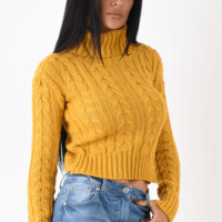 Mustard Cable Knit Polo Neck Jumper UK | Entire Desire