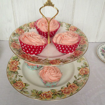 Pretty vintage two tier Royal Doulton Golden Rose - peach roses - vintage wedding high tea afternoon cupcake stand. VBB180