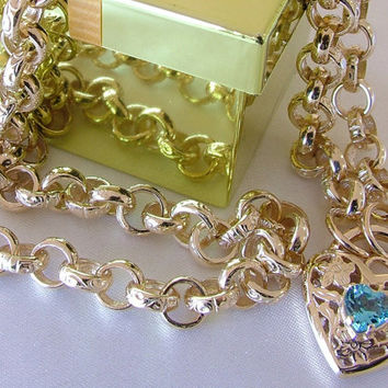 10K 14K Victorian Style Heart Padlock set with Genuine Blue Topaz Gold Belcher Rolo Chain Necklace