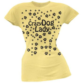 LMFCY8 Crazy Dog Lady Paw Prints Yellow Soft Juniors T-Shirt