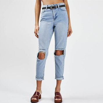 Destroyed Boyfriend Style High Waisted Jeans