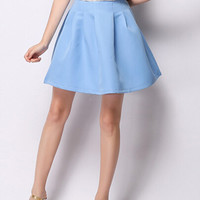 Light Blue High Waist Skater Skirt