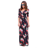Summer Long Dresses Women 2017 Floral Print V Neck Boho Maxi Party Beach Dresses Three Quarter Sleeve Boho Style Dress New #23