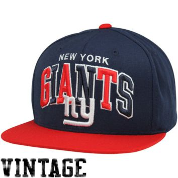 Mitchell & Ness New York Giants Tri-Pop Snapback Adjustable Hat - Navy Blue/Red