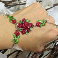 Red Rose Slave Bracelet, Ring Bracelet, Hand Jewelry, Love, Bracelet, Ring, Floral, Sized, Hand Chain, Hand painted, Adjustable, Ring