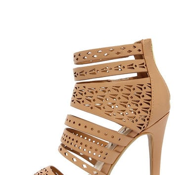 Lacy-like Behavior Natural Perforated Caged Heels