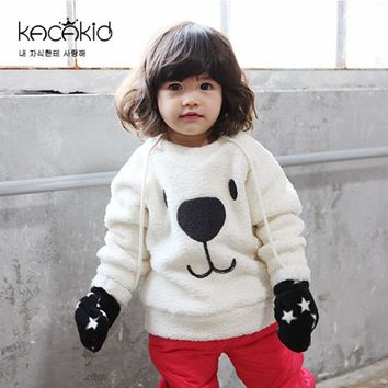 2017 Autumn and Winter New Children's Clothing Cute Male and Female Baby Plush Coat Lovely Warm L Coat For 6~18 Months