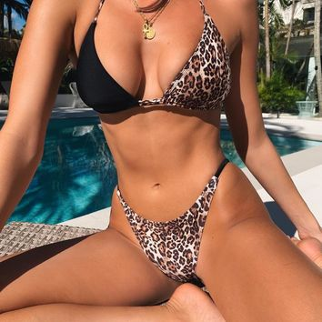 Women's split swimsuit leopard plaid stitching sexy personality bikini two-piece #1
