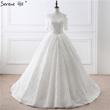 White Off Shoulder Half Sleeves Wedding Dresses 2017 Real Photo Fashion Sexy Lace Bridal Gown Vestido De Noiva