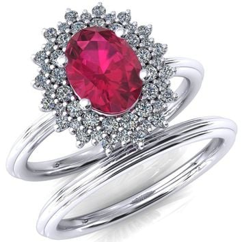 Eridanus Oval Ruby Cluster Diamond Halo Wedding Ring