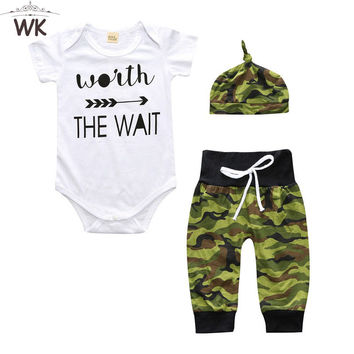 Newborn baby Boys/girls Clothes Set With Short Sleeve Sliders + Camouflage Pants + Hat