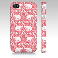 iPhone 5s case, iPhone 5c case, iPhone 5 case, iPhone 4s elephants, elephant damask pattern, tribal henna paisley design, coral and white