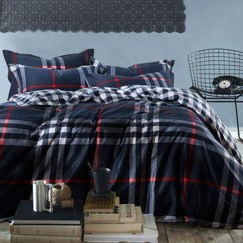 mens Plaid stripe reactive print 4pc bedding set navy 100% Cotton bedclothes king queen size Duvet/quilt covers bed sheet sets