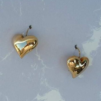 AVON Puffed Heart Earrings Signed SH Wires Jewelry