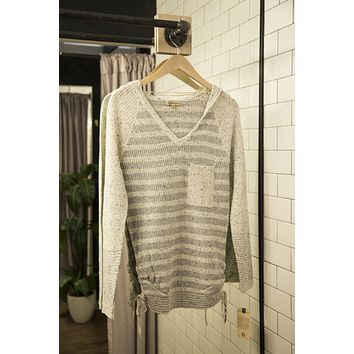 Ashlyn Waffle Knit Top, Heather Grey | Democracy