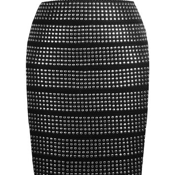 Silver Beaded Pencil Bodycon Mini Skirt
