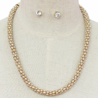 """19"""" crystal round choker collar Necklace .50"""" width"""