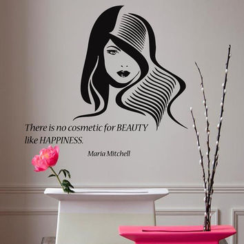 Wall Decals Vinyl Decal Quote There Is No Cosmetic For Beauty ... Fashion Girl Home Vinyl Decal Sticker Kids Nursery Baby Room Decor kk102