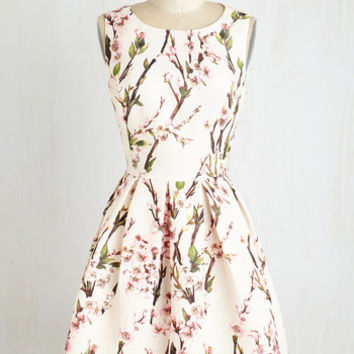 Mid-length Sleeveless Fit & Flare Blossoming with Beauty Dress