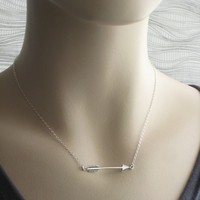 Arrow Necklace in Sterling Silver, Arrow Charm, Arrow Jewelry, Sisters, Katniss Necklace