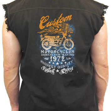 Men's Sleeveless Denim Shirt American Made Tradition Motorcycles Biker
