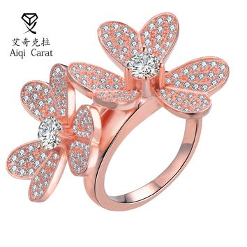 AIQICARAT Fashion Elegant Rose Golden CZ Zircon Dazzling Daisy Two Flowers Rings For Womens Girlfriend Wedding Party Jewelry