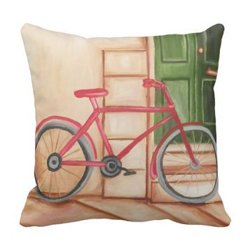 Bicycle Oil Painting Throw Pillow, Throw Pillow