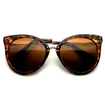 Pointed Horn Rimmed Indie Retro Cat Eye Sunglasses Metal Studs