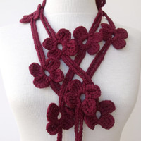 BORDEAUX BLOOM Scarf-Ready for shipping