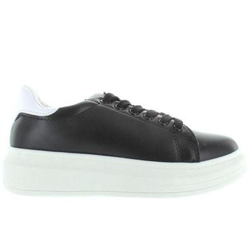 Wanted Chervil   Black/white Lace Up Platform Wedge Sneaker