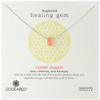 "Dogeared ""Lasting Healing Gems"" Cherry Quartz Silver Pendant Necklace, 16"""