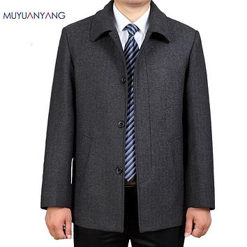 Woolen Coat Spring and Autumn Mens Wool Coat Single Breasted Turn-down Collar Business Casual Wool Blends Jacket Men Outerwear