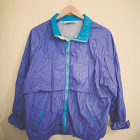 90's  Windbreaker Periwinkle Blue Aqua Jacket  Coat Extra Large XL Hipster Preppy 80s Club Kid Active Wear Oversized Slouchy