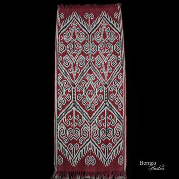 Borneo Dayak Handmade Ceremonial Textile - Pua Kumbu - Natural Dyes-Tree Of Life Motif, Traditional Handwoven Fabric