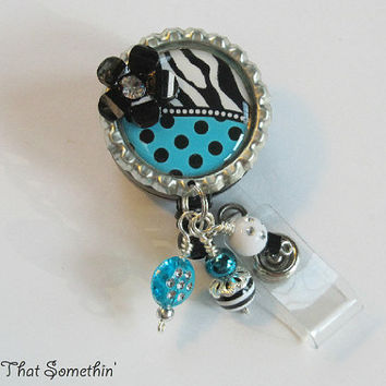 Turquoise Dots N' Zebras Retractable Badge Reel - Fun Badge Clip - Unique ID Holder - Designer Badge Pull - Cute Badge Reel - Diva ID Holder