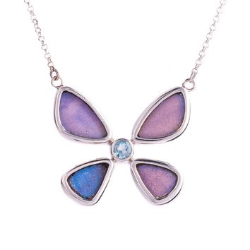 Silver butterfly necklace with rainbow moonstone birthstone - Iridescent Blue  Morpho Didius