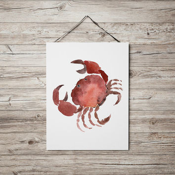 Crab poster Watercolor art Nursery print ACW24