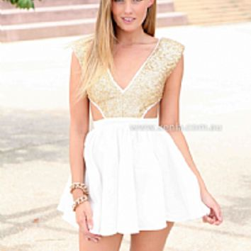WILDFIRE DRESS , DRESSES, TOPS, BOTTOMS, JACKETS & JUMPERS, ACCESSORIES, 50% OFF SALE, PRE ORDER, NEW ARRIVALS, PLAYSUIT, COLOUR, GIFT VOUCHER,,White,CUT OUT,Sequin,Gold,SLEEVELESS,MINI Australia, Queensland, Brisbane