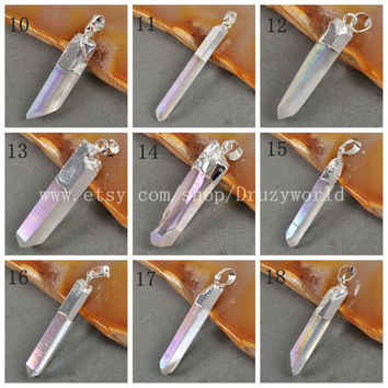 Angel Cluster Aura Titanium Druzy Quartz Crystal Point Pendant Bead Silver Plated Angel Aura Quartz Pendants Gemstone Jewelry S0061