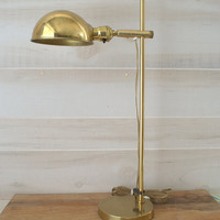 Koch and Lowy OMI Pharmacy Lamp, Industrial Desk Lamp with Parabolic Shade,  Modern Industrial Table Lamp, Brass Pharmacy Lamp