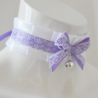 Kitten play collar - Laced lilly - ddlg cgl little princess lolita choker pet - kawaii cute fairy kei harajuku white white and purple