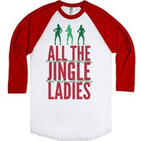 All The Jingle Ladies-Unisex White/Red T-Shirt