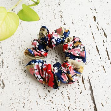 Fabric Scrunchie - Cherry Blossoms in Blue/Red/Gold