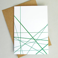 Geometric card green lines greeting card green print any occasion minimalist
