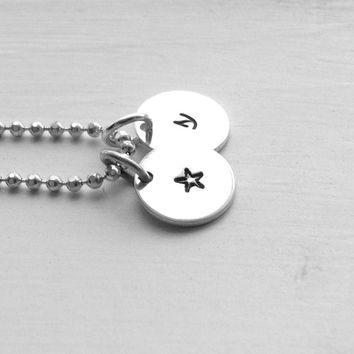s Initial Necklace, Small Star Necklace, Small s Necklace, Sterling Silver Jewelry, Hand Stamped Jewelry, Charm Necklace, Initial Star, s