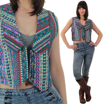 Boho Vest Vintage 80s  Abstract vest Top Bohemian Vest Hippie vest Retro Vest Sleeveless shirt Top Gypsy vest Peasant Vest Festival Vest