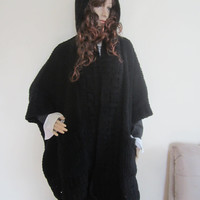 OVERSIZE BLACK CARDIGAN/Ponco, Plus size cardigan, sweater coat, Plus size poncho, plus size sweater, Hooded cardigan, hooded poncho