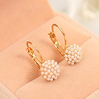 TOMTOSH 1 Pair New Fashion Jewelry Women Lady Elegant Simulation Pearl Beads Ear Stud Earrings Free shipping